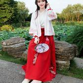 春裝新款中國風學生現代改良版日常交領套裝女漢服彼岸花襦裙古裝【奇貨居】