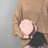 小包包女新款2017毛毛女包可愛少女萌毛絨珍珠貝殼鏈條單肩斜挎包 優帛良衣
