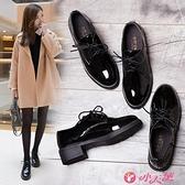 英倫風女鞋 黑色小皮鞋女2021新款秋冬百搭韓版加絨復古英倫風女鞋平底單鞋潮 小天使