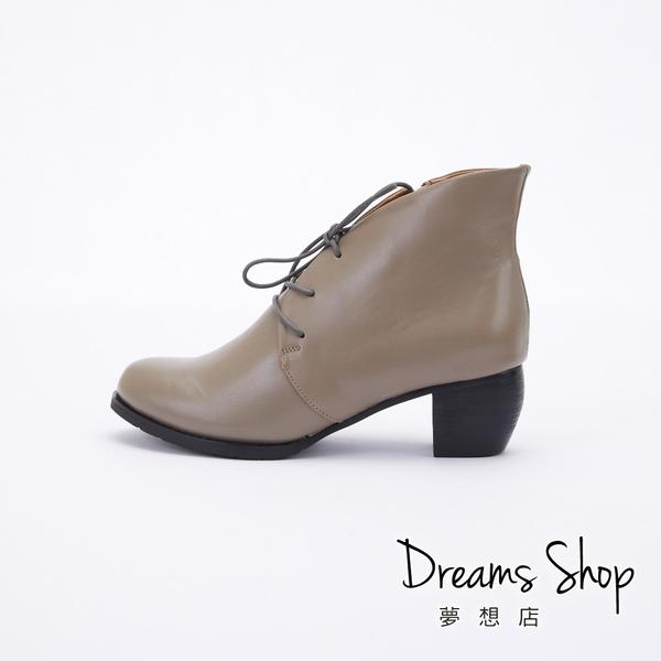 大尺碼女鞋-夢想店-MIT台灣製造全真皮側拉鍊綁帶中跟踝靴5cm(41-47)【JD3033】灰色