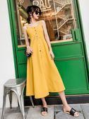夏季新款明星同款洋裝女中長款氣質黃色高腰吊帶顯瘦海邊度假裙 9號潮人館