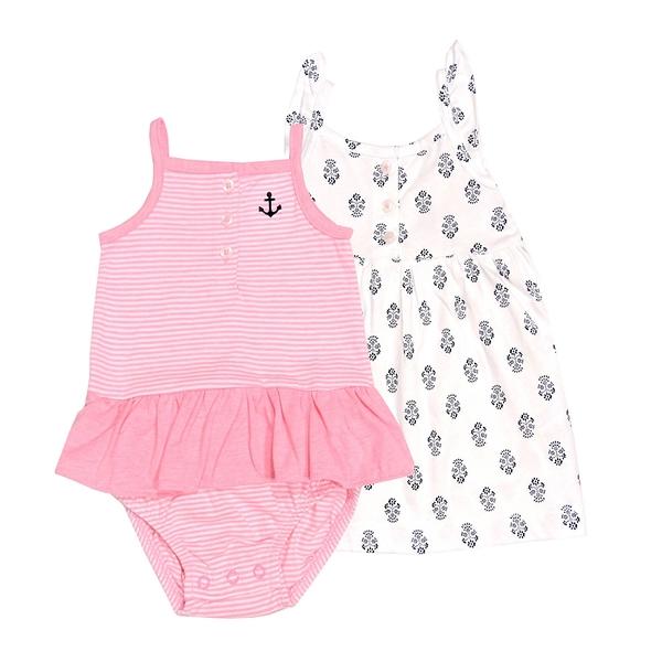 女寶寶洋裝套裝三件組 無袖細肩帶裙子+裙擺兔裝+內褲 粉橫條 | Carter s卡特童裝 (嬰幼兒)