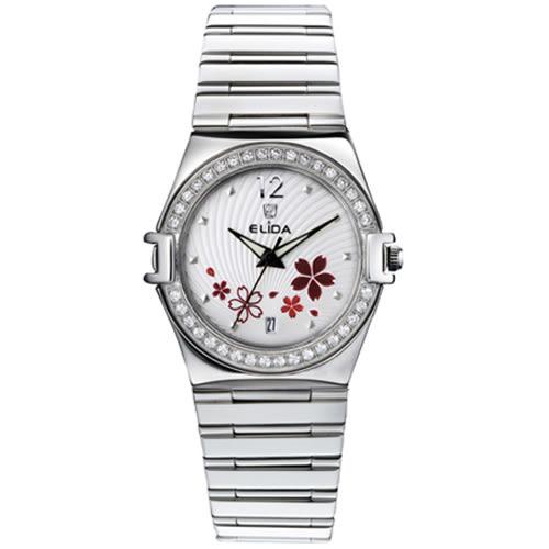 ELIDA 璀璨花漾晶鑽石英錶-銀x白