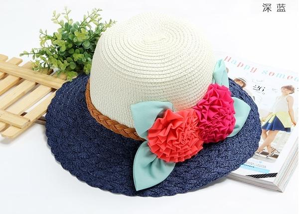 [協貿國際]韓版夏天帽子可折疊遮陽帽草帽A款深藍色