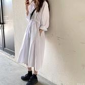 襯衫洋裝 白色連衣裙女收腰顯瘦長袖襯衫裙子早秋2021新款寬鬆氣質過膝長裙 歐歐