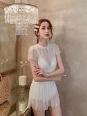 白色仙女范泳衣女2021年新款遮肚顯瘦保守連身時尚蕾絲溫泉泳裝 艾瑞斯