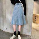 大碼復古高腰休閒牛仔半身裙早秋新款韓版時尚中長款女 洛小仙女鞋