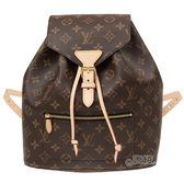 【Louis Vuitton 路易威登】M43431經典Montsouris系列Monogram印花牛皮鑲飾穿釦束繩手提後背包