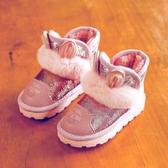女童雪地靴2019冬季新款寶寶棉鞋加絨加厚棉靴子公主短靴兒童童鞋    依夏嚴選