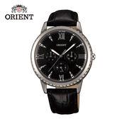 ORIENT 東方錶 CASUAL系列 璀璨晶鑽三眼石英錶 皮帶款 FSW03004B 黑色 - 39mm