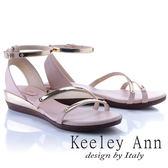 ★2018春夏★Keeley Ann美感時尚~流線質感腳踝帶楔形涼鞋(粉紅色)