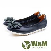W&M 圓頭百搭 古典繡球花平底鞋-黑(另有裸膚色)