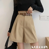 工裝短褲 工裝褲女西裝短褲春季2021新款直筒寬鬆闊腿高腰A字五分薄款褲子 艾家