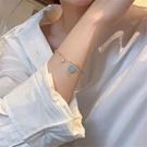 手鏈 韓國新款鍍真金愛心鋯石手鏈流行小眾設計感鏈條手飾簡約飾品SL16【快速出貨八折鉅惠】
