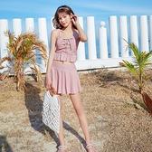 溫泉泳裝泳衣女可愛日系保守分體格子仙女范2021新款小胸甜美少女溫泉學生 雲朵走走