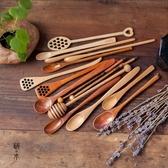 攪拌棒攪拌棒 咖啡勺 長柄木勺蜂蜜木質勺 手工調色棒原木棒創意奶茶勺-凡屋