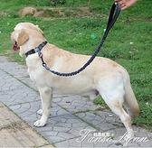防爆沖不勒手牽引繩拉布拉多金毛中大型犬狗鏈鋼扣柔軟脖圈可調節 范思蓮恩