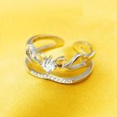 戒指 925純銀鑲鑽-氣質翅膀生日情人節禮物女開口戒73dt783【時尚巴黎】