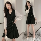 2020流行裙子新款春秋小黑裙法式智熏桔梗黑色洋裝收腰顯瘦氣質 小艾新品