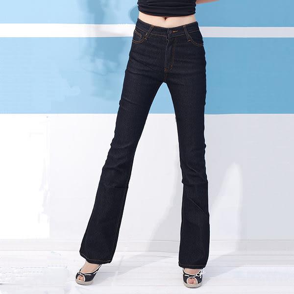 顯瘦--再創窈窕細身曲線-復古黑藍色瘦排骨中腰合身小喇叭牛仔褲(S-7L)-N88眼圈熊中大尺碼