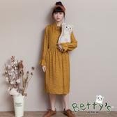 betty's貝蒂思 滿版印花綁結雪紡洋裝(深黃)