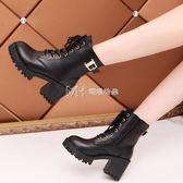 短靴女  馬丁靴女英倫靴子休閒短靴繫帶機車靴舒適雪地靴女靴  瑪奇哈朵