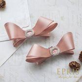 裸粉緞面水鑽蝴蝶結