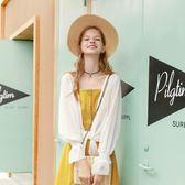 MG小象罩衫女短款2018新款秋季開衫防曬衫喇叭袖白色薄款外套潮洋裝  百搭潮品