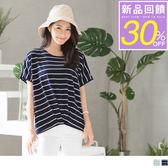 《AB6534-》假兩件橫條紋捲褶造型寬鬆上衣 OB嚴選