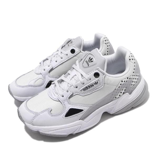 adidas 休閒鞋 Falcon W 白 灰 女鞋 點點 復古慢跑鞋 老爹鞋 【ACS】 EF4983