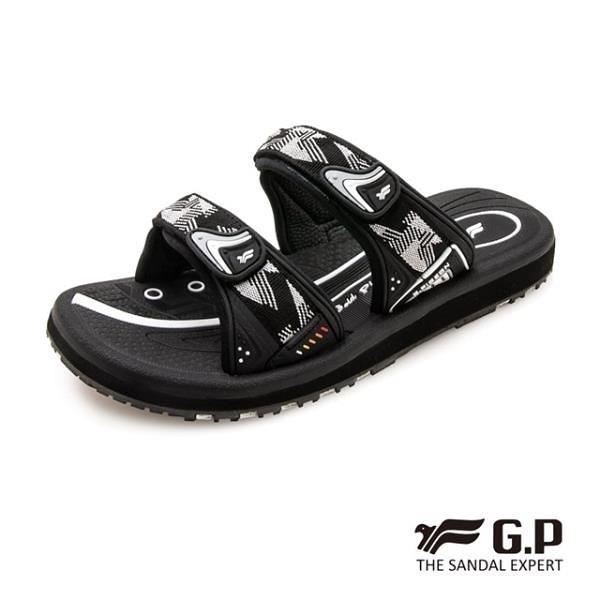 【南紡購物中心】G.P (女) 簡約織帶風格雙帶拖鞋-黑灰 (另有黑桃、藍)