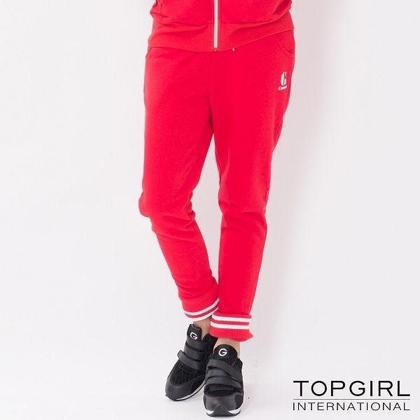 TOP GIRL 翻領顯瘦修身哈倫飛鼠褲-紅