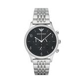 【Emporio Armani】美式經典三眼時尚鋼帶腕錶-經典黑/AR1863/台灣總代理公司貨享兩年保固