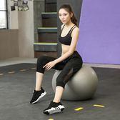 運動青年透氣速乾運動中褲七分顯瘦健身褲微彈跑步瑜伽寬鬆女