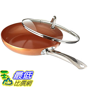 [8美國直購] 陶瓷鍋鈦合金不沾鍋 Copper Chef 10 Inch Round Frying Pan With Lid - Skillet with Ceramic Non Stick Coating