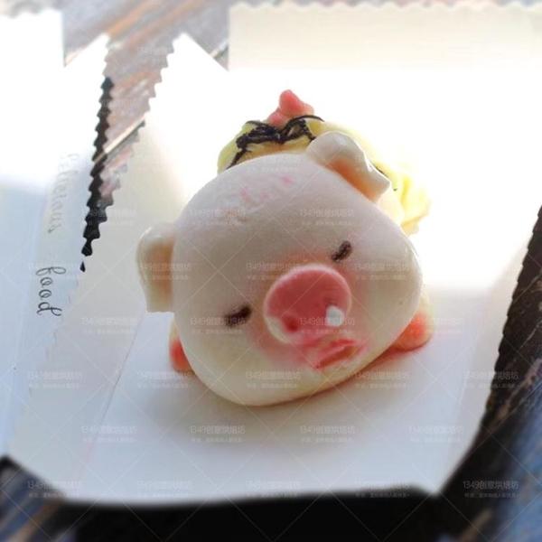 3D立體慕斯小豬模具霜淇淋口水豬缺牙豬鼻涕豬矽膠蛋糕巧克力磨具 英雄聯盟