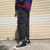 韓版復古加絨工裝牛仔褲潮男寬鬆直筒哈倫褲秋冬新款 歐亞時尚