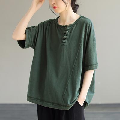 純棉復古盤扣短袖T恤 圓領純色套頭上衣/3色-夢想家-0325