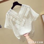 白色雪紡衫女短袖韓版V領洋氣小衫超仙仙女甜美小清新蕾絲上衣夏 創意家居生活館