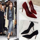 高跟鞋 黑色尖頭小清新高跟鞋少女細跟單鞋韓版百搭酒紅色鞋