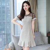依酷衫 洋裝 格子連身裙 收腰顯瘦氣質修身魚尾裙