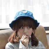 韓國遮陽防曬漁夫帽可折疊凹造型夏女帽子正韓學生寬檐盆帽父親節促銷