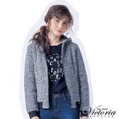 Victoria 文字飾釘異材質拼接短袖T-黑-V2520988