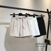 正韓女中高腰短褲肥婆寬鬆闊腿褲百搭鬆緊腰熱褲大尺碼