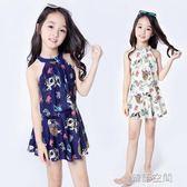 新款女童泳衣大中小童韓國兒童泳衣女孩學生連體裙式平角游泳衣 韓語空間