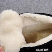 高筒帆布鞋 加絨保暖帆布鞋平底高筒系帶休閒鞋短筒平跟雪地靴女顯瘦棉鞋 koko時裝店
