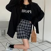 (下殺)韓版復古chic港味格子裙高腰A字包臀半身裙【08SG04589】