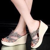 【優選】坡跟拖鞋女鬆糕跟正韓水鑽涼增高厚底涼鞋