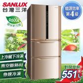 【SANLUX台灣三洋】551L直流變頻對開冰箱。金色  SR-B551DVF  SR-B551DVF_V