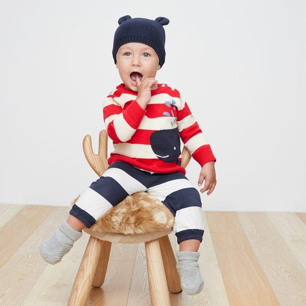 Gap男嬰兒 布萊納小熊刺繡條紋鬆緊腰長褲 374303-海軍藍白條紋